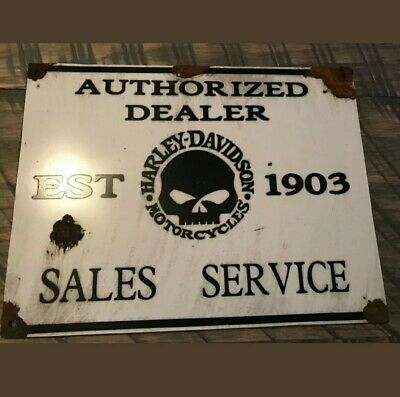 Antique 1903 Rare Harley Davidson motorcycles authorized dealer USA Sign
