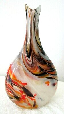 """Colorful Hand Blown Art Glass Vase Artist Signed 10"""" Tall Vgc"""