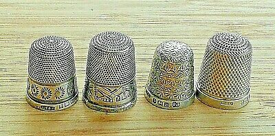 NO RESERVE - Four Vintage Silver Thimbles, all Birmingham hallmarked 1925-1934