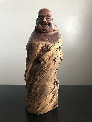 Fine Old Chinese Root Wood Robed Buddha Scholar Art Statue Zen Figure Lucky NR