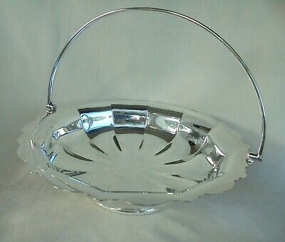 Vintage Walker & Hall Silver Plated Cake Basket With Swing Handle