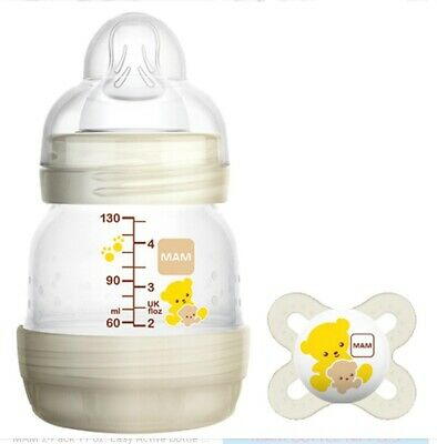 2 MAM Baby Bottles 4 oz Matching Pacifier Anti Colic Self Sterilizing Newborns
