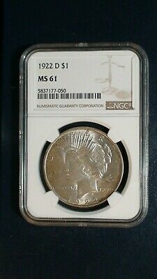 1922 D Peace Silver Dollar NGC MS61 UNCIRCULATED $1 Coin BUY IT NOW!