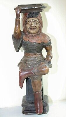 Early Antique Carved Wood Figure Of A Man In Medieval Costume