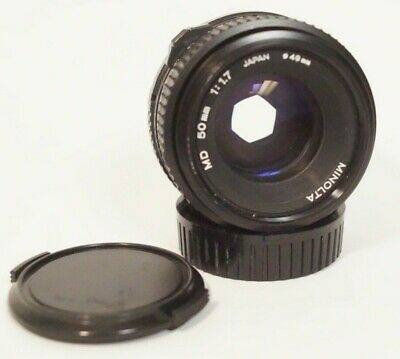Minolta MD 50mm 1:1.7 Japan with Lens Caps MD Mount - Smooth