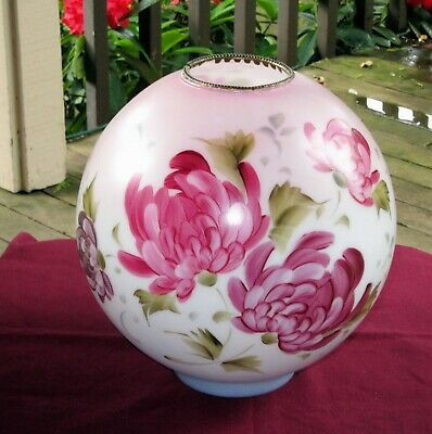 """Vintage GWTW  10"""" Globe Ball Shade w/ Beautiful Floral Design~Hand Painted~Pinks"""