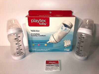Playtex Baby VentAire Bottles w/Anti Colic Vent -Lot of 2- Cuts Gas/Spit-Up/Fuss