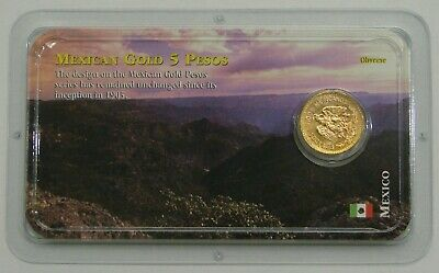 Mexico - 1955 - Gold 5 Pesos - UNC (0.1205 troy oz) in Littleton Card Holder