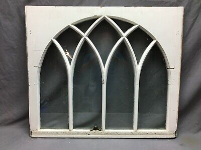 Antique  Arch Top Gothic Window 29x34 Sash White Shabby Vintage Chic 519-20B
