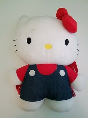 Hello Kitty by Sanrio Plush Backpack Red White and Blue Bookbag Kids