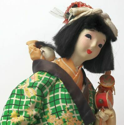 "Antique Japanese Gofun Isho Ningyo Doll Mother and Child Silk Kimono 14"" Tall"