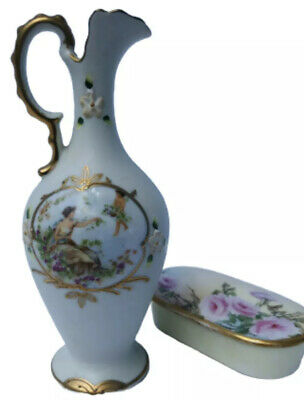 Porcelain Ewer Pitcher Handpainted Gold Trim and Floral Painted Trinket Box