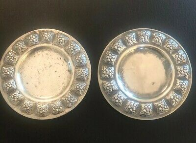 PAIR Sanbourns AZTEC ROSE Mexico Sterling Silver Repousse BUTTER PATS COASTER