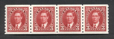 Canada - SC#240 strip/4 Mint NH 3 cent KGVI Coil  issue
