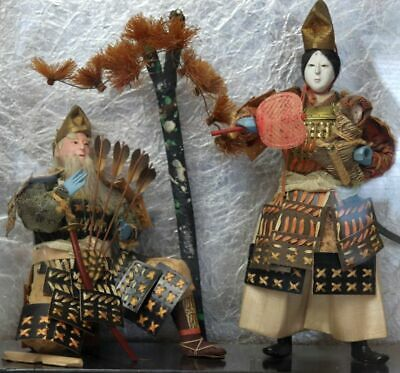 2 Antique Ningyo Japanese Doll Geisha Baby Samurai Old Man Bamboo Outfit w/Tree