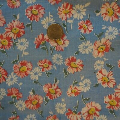 """Feed Sack Red & White Daisies Flowers on Blue 39"""" x 48"""" Vintage Feed Bag"""