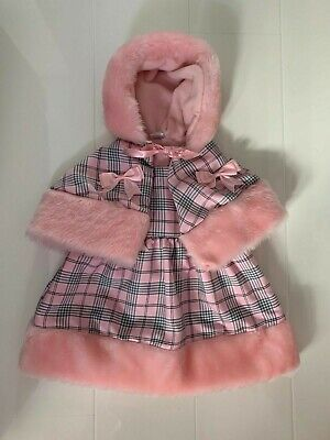New Pink Checked Fur Trimmed Girls Dress And Hooded Cape Set - 12-18 Months