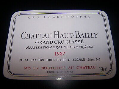 etiquette vin Chateau Haut Bailly 1982 graves wine label bordeaux grand cru