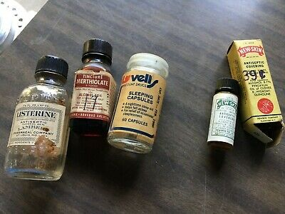 Vintage Lot of 4 small Medicine Bottles sleep capsules, merthiolate, listerine