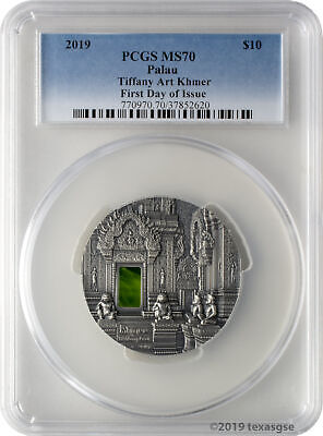 2019 $10 Palau Tiffany Art Khmer 2oz 999 Silver PCGS MS70 First Day of Issue