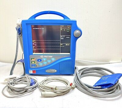 GE DINAMAP PRO 1000 MONITOR WITH LEADS ECG, SpO2, NIBP & TEMPERATURE