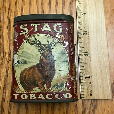Vintage Stag Tobacco Metal Pocket Flip Top Tin smoking for pipe or cigarettes