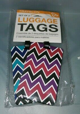 Travelon Brand Set of 2  Multi Colored Luggage ID Address Tags