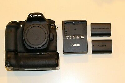 Canon EOS 80D 24.2MP Digital SLR Camera - w/ charger, battery grip & memory card