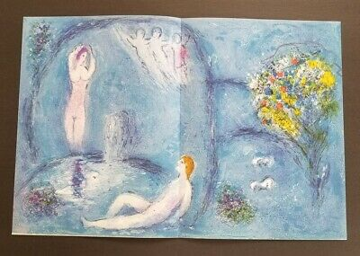 "Marc Chagall  "" Daphnis and Chloe "" The Nymphs Cave Large Color Lithograph 1977"