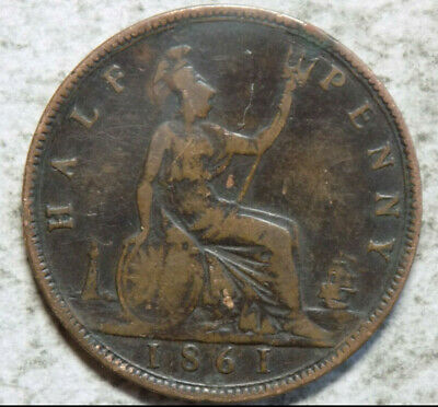 Great Britain 1861 1/2 Penny Coin