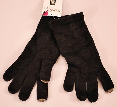 women's Touch & Go gloves black knit one size mobile phone touch finger MSRP $30