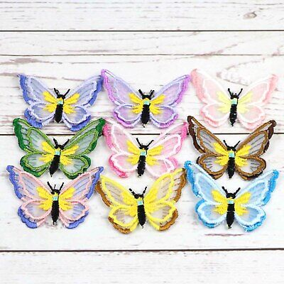 Embroidered Lace Butterfly Patch Sew/Iron-On Lace Organza Clothing Craft Appliqu