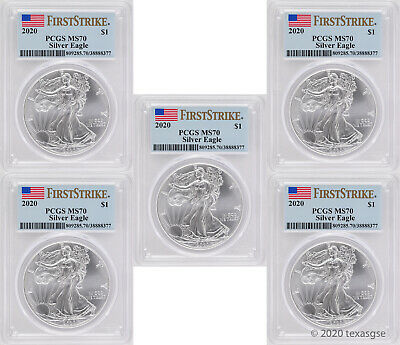 2020 $1 American Silver Eagle PCGS MS70 First Strike - Lot of 5
