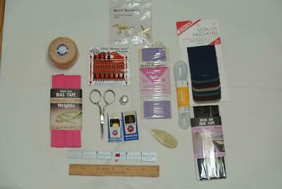 Vintage Sewing Lot Scissors Threader Darning Cotton Needles Hooks Eyes Loops