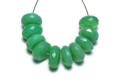10 pcs GREEN CHRYSOPRASE 10mm Faceted Rondelle Beads NATURAL