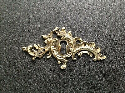 "Antique CAST French BRASS/BRONZE ESCUTCHEON 3.75"" KEYHOLE COVER French"