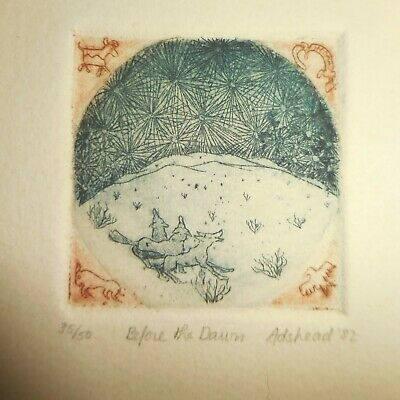 "Amy Adshead Etching Limited Edition Signed & Dated 1982 ""Before the Dawn"""