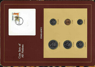 Coin Sets of All Nations Zimbabwe $1, 50,10,5 Cents 1980 1,20 cents 1983
