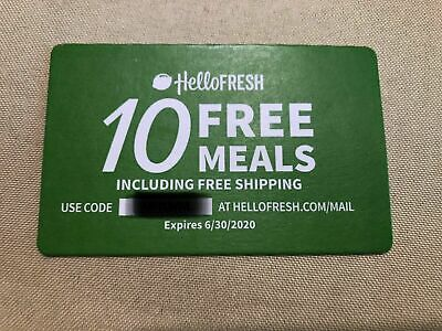 10 MEALS + SHIPPING GIFT CARD-HELLO FRESH-For Hellofresh.com Expires 6/30/2020