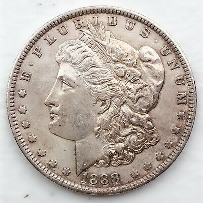 1888 AU MORGAN SILVER DOLLAR 90% SILVER $1 COIN US #Ti36