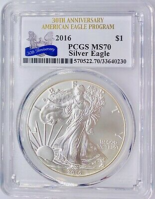 2016 • American Silver Eagle • PCGS MS70 1 oz ASE • 30th Anniversary MINT Coin!