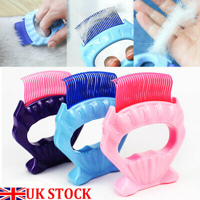 Pets Cat Dog Massage Shell Comb Grooming Hair Removal Shedding Cleaning Brush UK