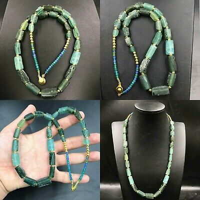 Ancient Rare Old Roman Glass Beads And Gold Plated Beads Unique Necklace