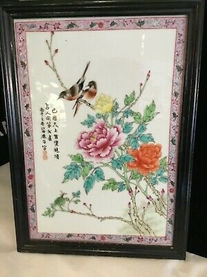Signed Antique Handpainted Chinese Floral & Bird Large Porcelain Plaques N.r