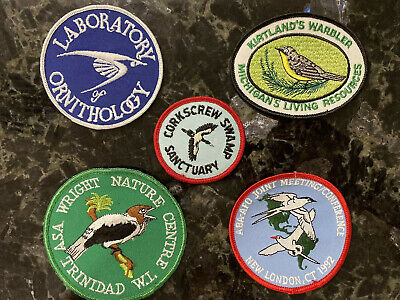 Vintage Bird Ornithology Nature Preserve Patches Embroidered Lot of 5 New & Used