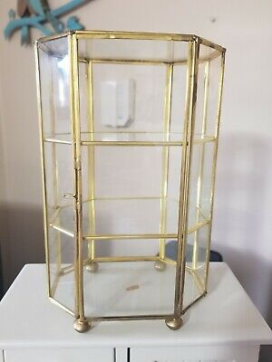 "Vintage Miniature Brass Glass Curio Display Case Table Top 2 Shelves 8.25"" Tall"