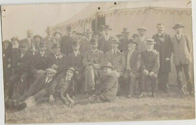 Vintage Old Photos People Fashion Men Group Clothing Hats Unusual Tent G16