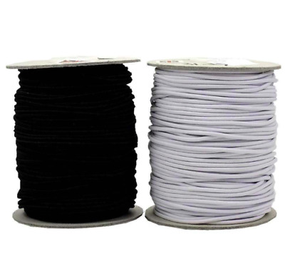 3 mm WHITE/BLACK ROUND CORD ELASTIC - IDEAL FOR MASKS, SEWING, DRESSMAKING