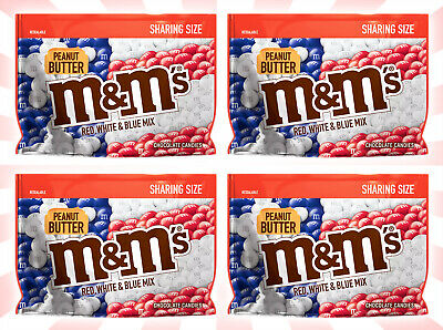 4 M&M's Peanut Butter Red, White & Blue Sharing Size Chocolate Candy 9.60 OZ