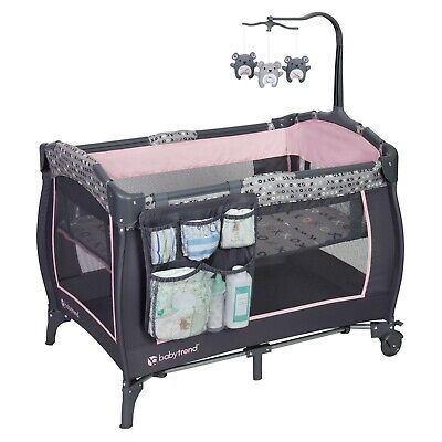 Baby Trend Trend-E Nursery Center, Playard Bed Cradle, Starlight Pink NEW